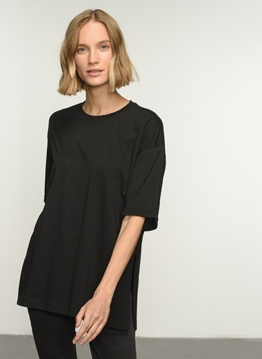 People By Fabrika PFKAW21TS0007 Oversize Yırtmaçlı Coton Tişört Siyah